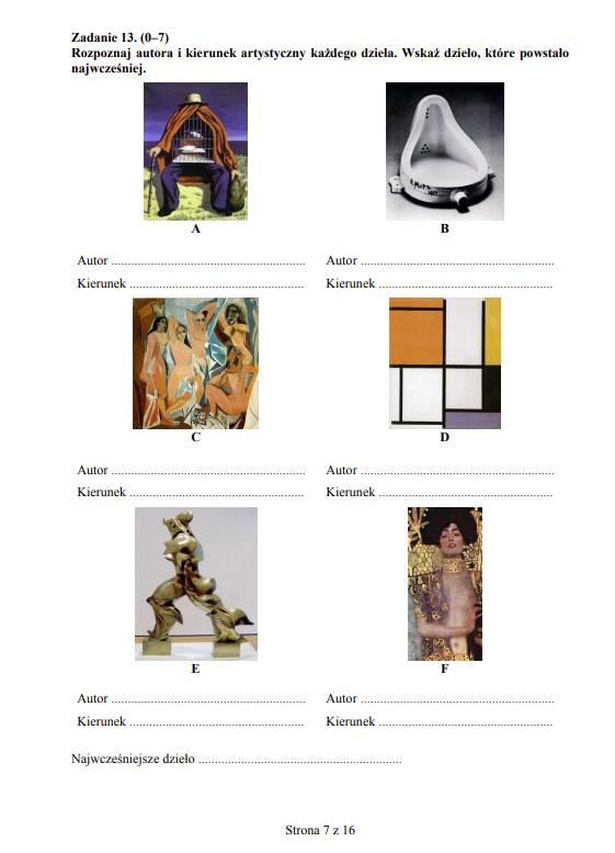 matura z historii sztuki fiszki, przykładowe zadanie, gdzie przydają się fiszki z historii sztuki